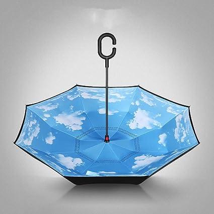 Paraguas plegables Sombrilla paraguas con mango para coche Sombrilla con respaldo Sombrilla automática completa Pliegue doble