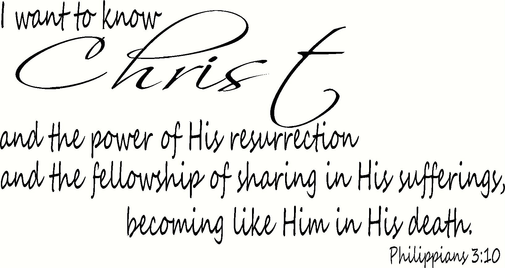 Philippians 3:10 Wall Art, I Want to Know Christ and the Power of His Resurrection and the Fellowship of Sharing in His Sufferings, Becoming Like Him in His Death, Creation Vinyls