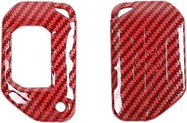 RT-TCZ Key Fob Case Cover Red Carbon Fiber Design Key Bag Holder Protection for Jeep Wrangler JK JKU 2007-2018