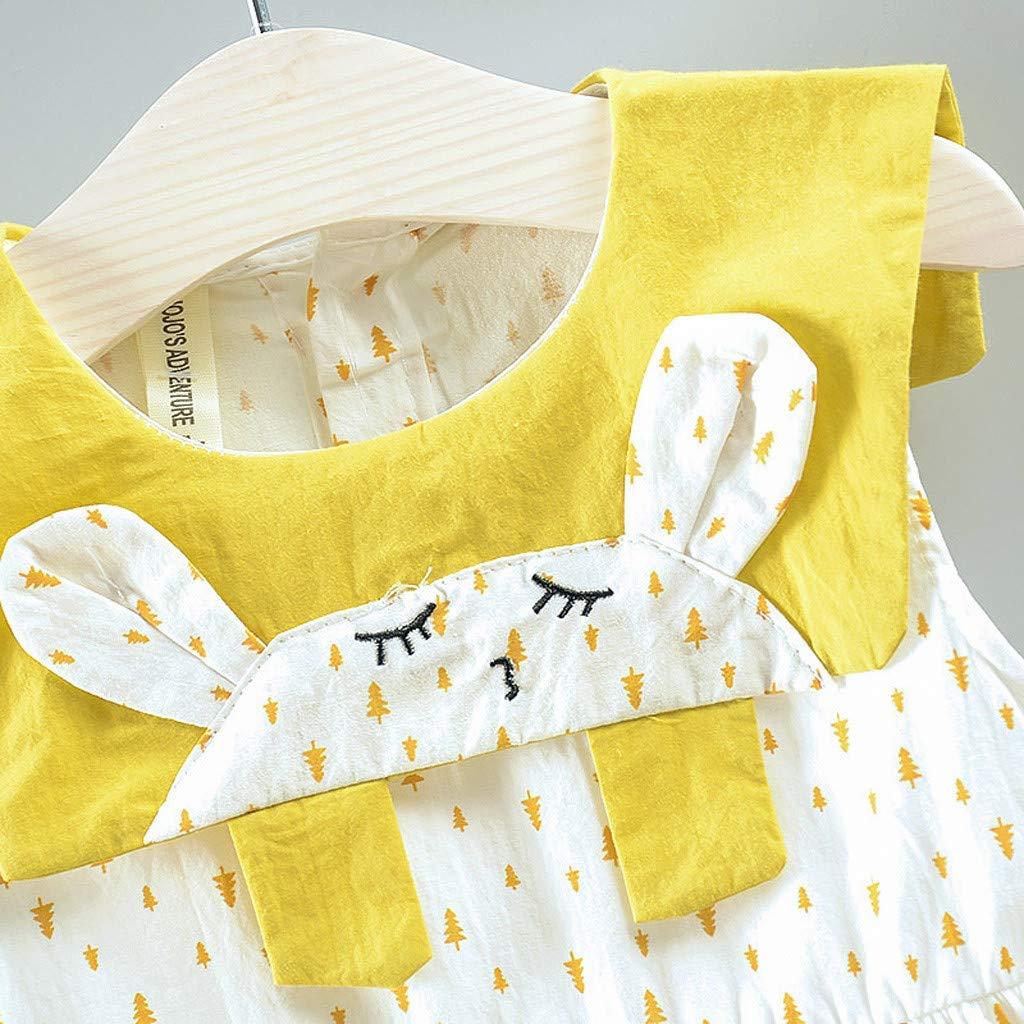KIMODO Baby M/ädchen Kleid Punkt gedruckte Karikatur-H/äschen Drucken Strandkleid Kleinkind Urlaub Sommer Prinzessin Kleidung Outfit