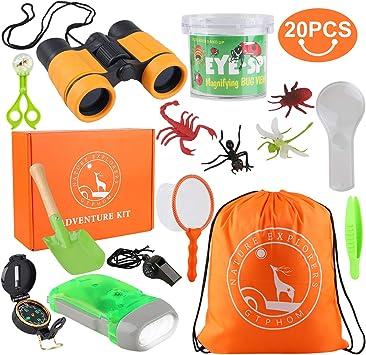 GTPHOM Kit de Exploración para Niños 19 en 1, Prismáticos, Silbato, Brújula, Lupa, Arañas, Insecto, Regalo de Cumpleaños para Niños de 3-10 Años Juego de Explorador Jugar para Niños: Amazon.es: Juguetes y juegos