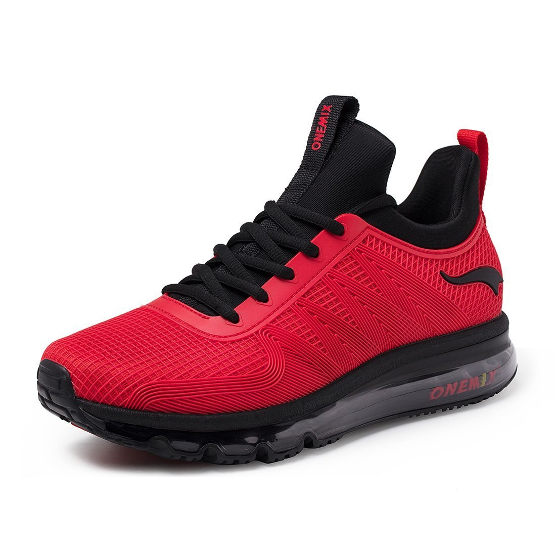 ONEMIX Men's Air Cushion Sports Running Shoes Lace-up Casual Sneaker Red 11 US HH45