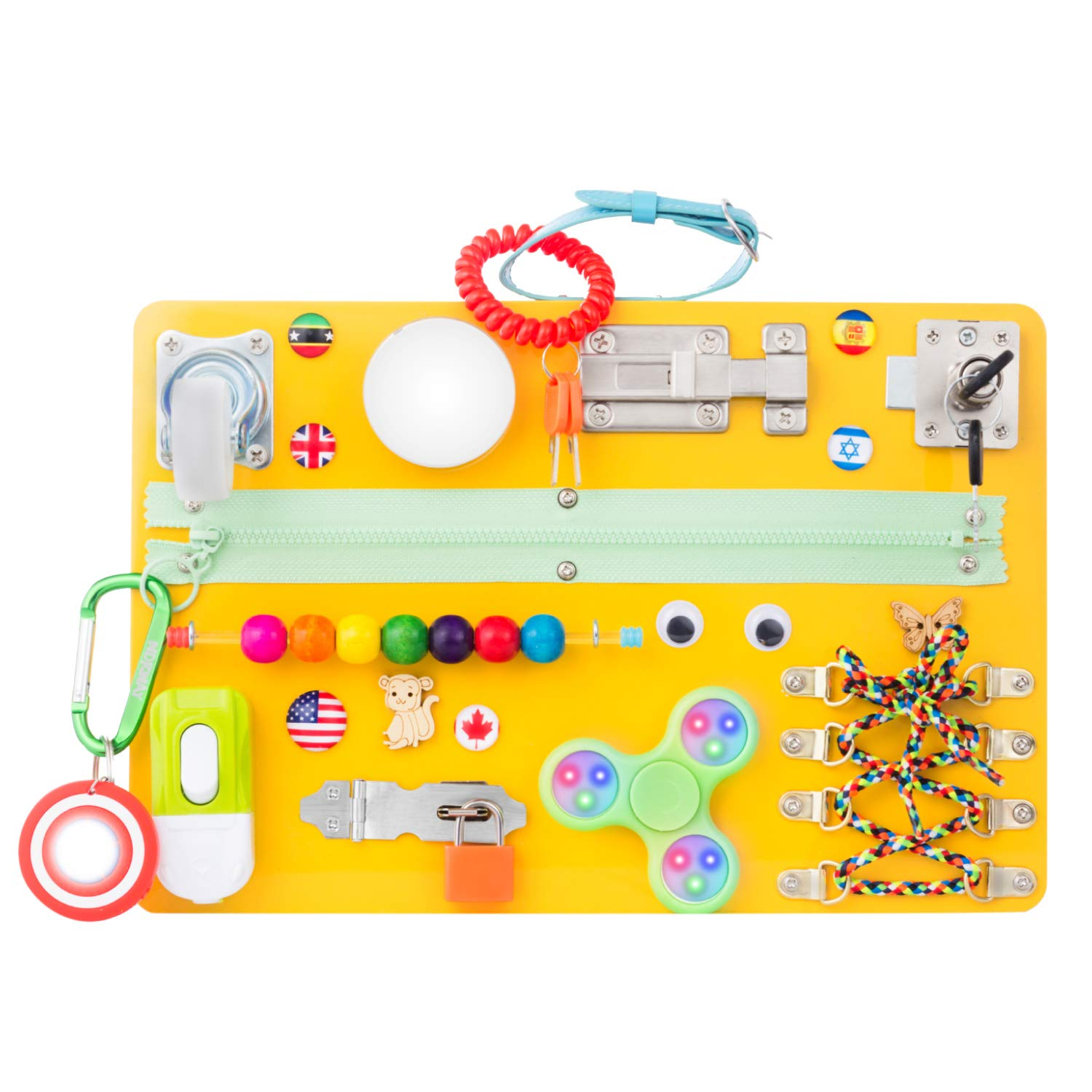 Toddler busy board for kids sensory Montessori toy educational activity board