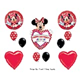Red Mad About Minnie Mouse PERSONALIZED Happy Birthday Party Balloons Decorations Supplies