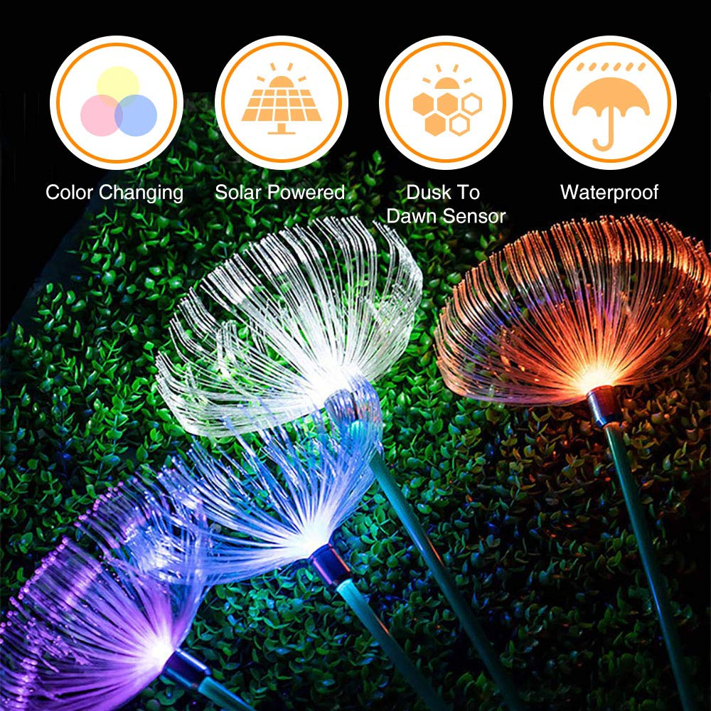 Neporal Multi-Colored Solar Stake Light Outdoor Decorative IP65 Waterproof Fiber Optic Solar Lighting 2 Pack Solar Garden Light Stakes for Yard Patio Garden Pathway Christmas Decoration