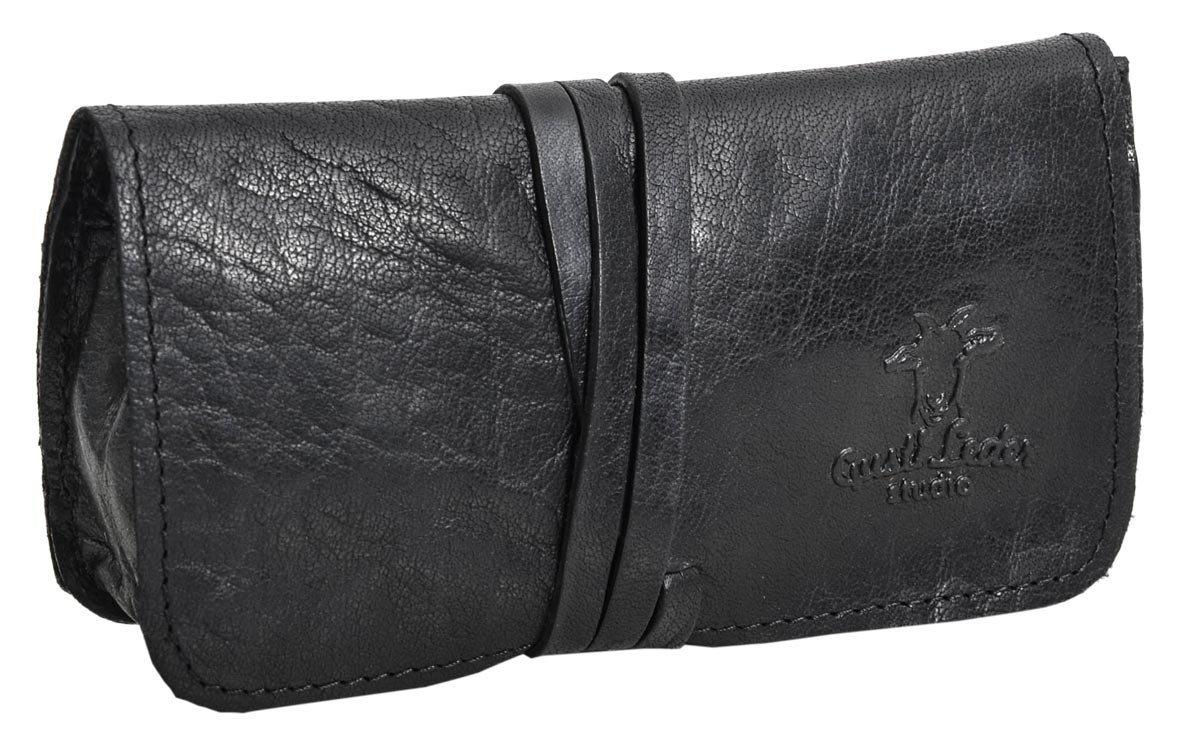 PortatabaccoMarius di Gusti Leder Studio borsellino vera pelle cartine filtri tabacco telefono nero vintage 2A2-20-6