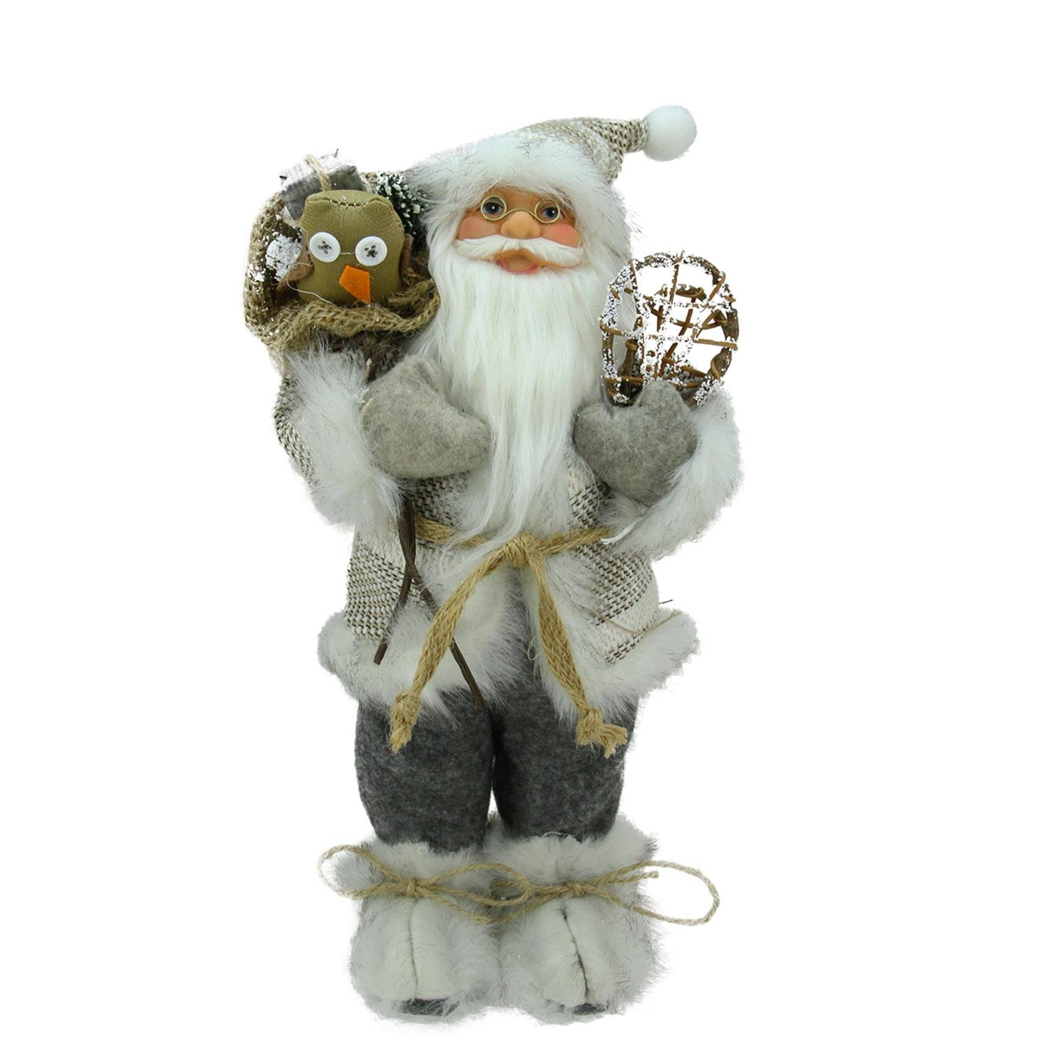 Northlight Alpine Chic Beige/Gray Standing Santa with Snowshoes and Gift Bag, 12.5''