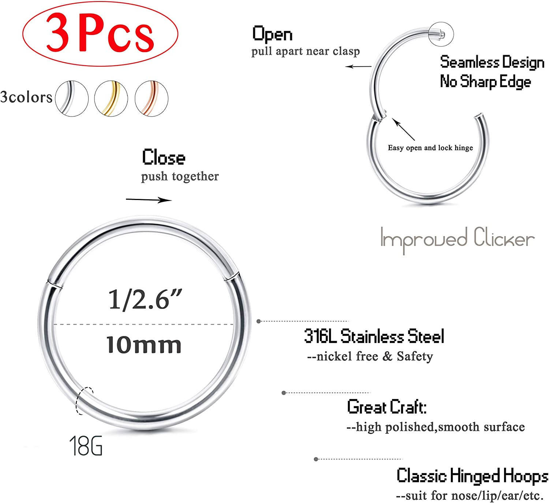 Lovebodyjewelry 316l Surgical Steel Hinged Nose Rings Hoop 20g 18g