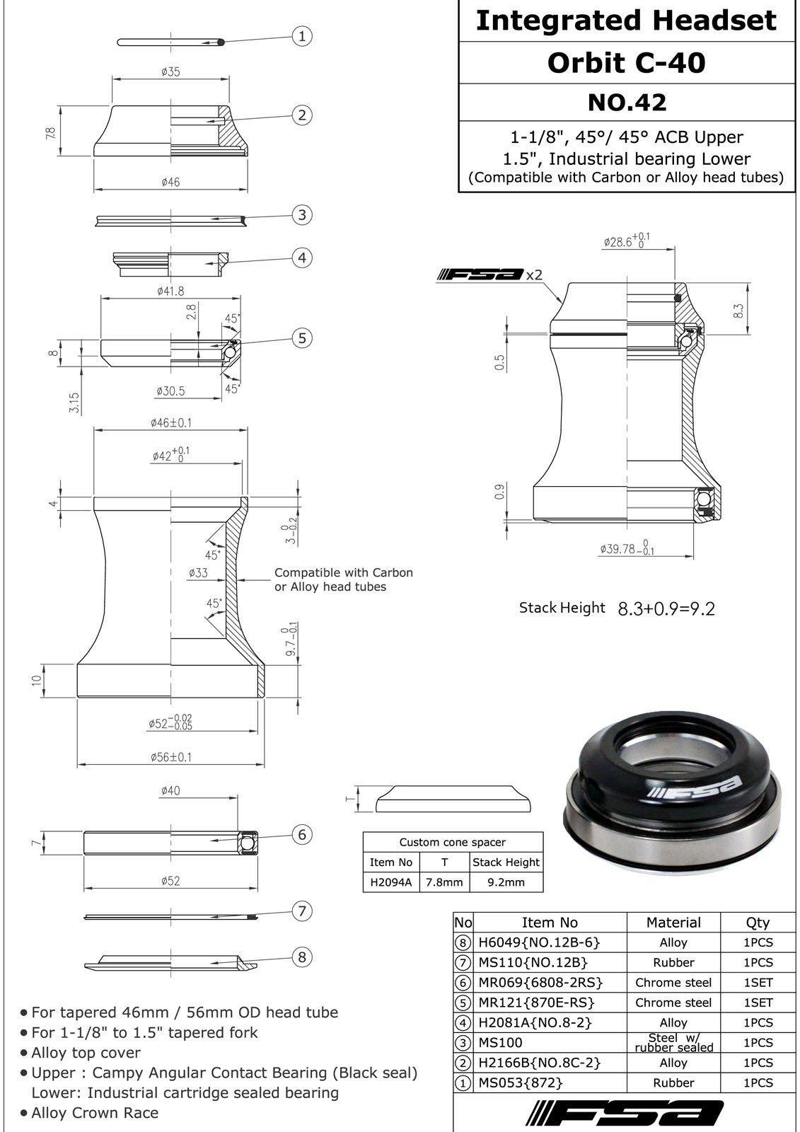 FSA ORBIT C-40 Integrated 1-1/8'' - 1.5'' ID 42/52 mm Tapered Headset, Red #XTE1512
