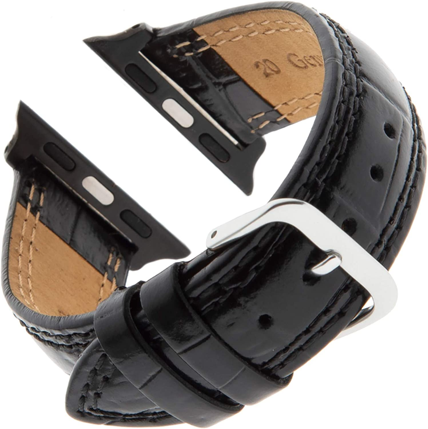 Gilden Gents Shiny Stitched Padded Gator-Grain Calfskin Watch Strap LS30-SMART, fits Apple Apple Watch in 38mm/40mm