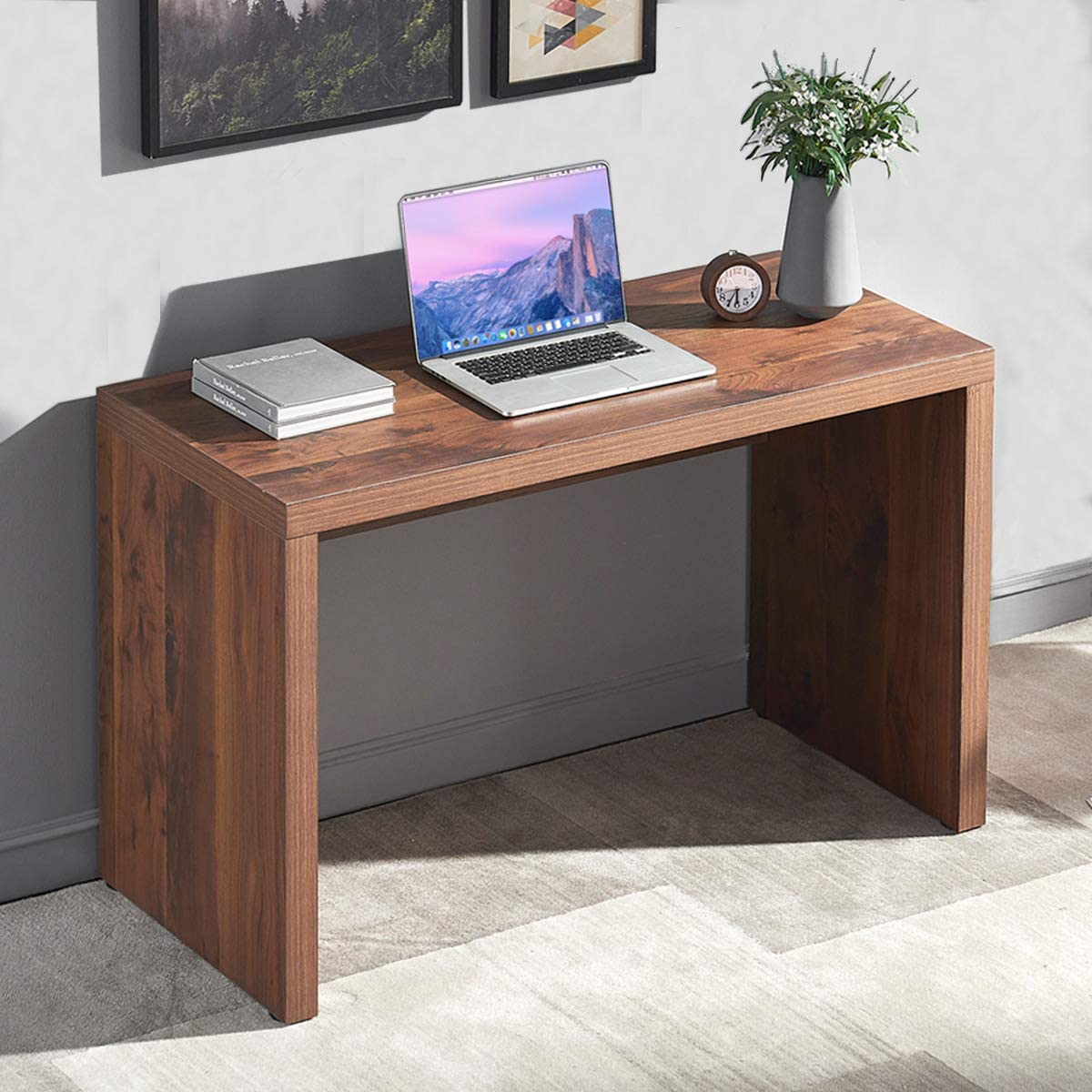 Furnichoi Rustic Computer Desk, Vintage Wood Study Writing Desk, Simple Sturdy Home Office Desk for PC Laptop Desktop, Brown, 47 inch