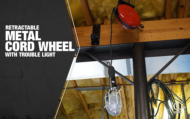 Woods 48000 16/3 SJTW Metal Cord Reel with 75-Watt Trouble Light, Red, 40-Feet by Woods (Image #2)