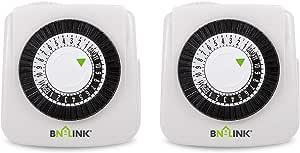 BN-LINK Indoor 24-Hour Mechanical Timer Outlet, 2 Prong, 2-Pack