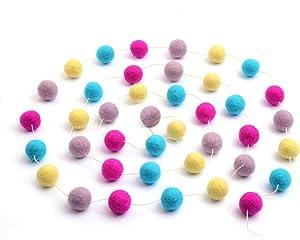 Glaciart One Pom Pom Garland - Wool Felt Ball Garland - 12 Feet, 40 Balls, 4 Nursery Colors, Pom Pom Decorations, Circus, Nursery Decor, Bunting, Birthday Party Decorations, Carnival, Photo Prop