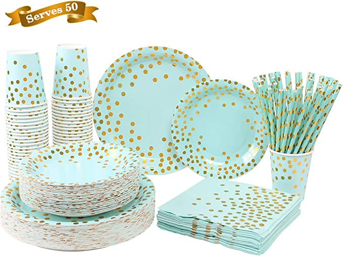 250PCS Paper Party Supplies - ENUOSUMA Disposable Paper Plates Tableware Set Include 50 Dinner Plates 50 Dessert Plates 50 Cups 50 Napkins 50 Straws For Party Wedding Birthday, Blue & Gold (Serves 50)