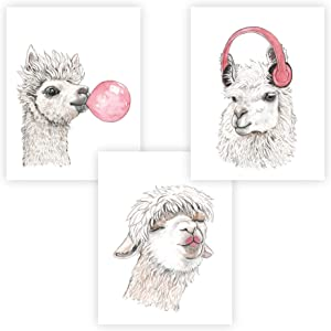 "FannyD Llama & Alpaca UNFRAMED Watercolor Art 3 Print Set 8.5"" x 11"" Perfect for Bedroom, Bathroom, Kitchen, Nursery etc. Can Be Framed 8"" x 10"" or Larger with mat. Unique Wall Decor!! (Llama & Alpaca Pink)"