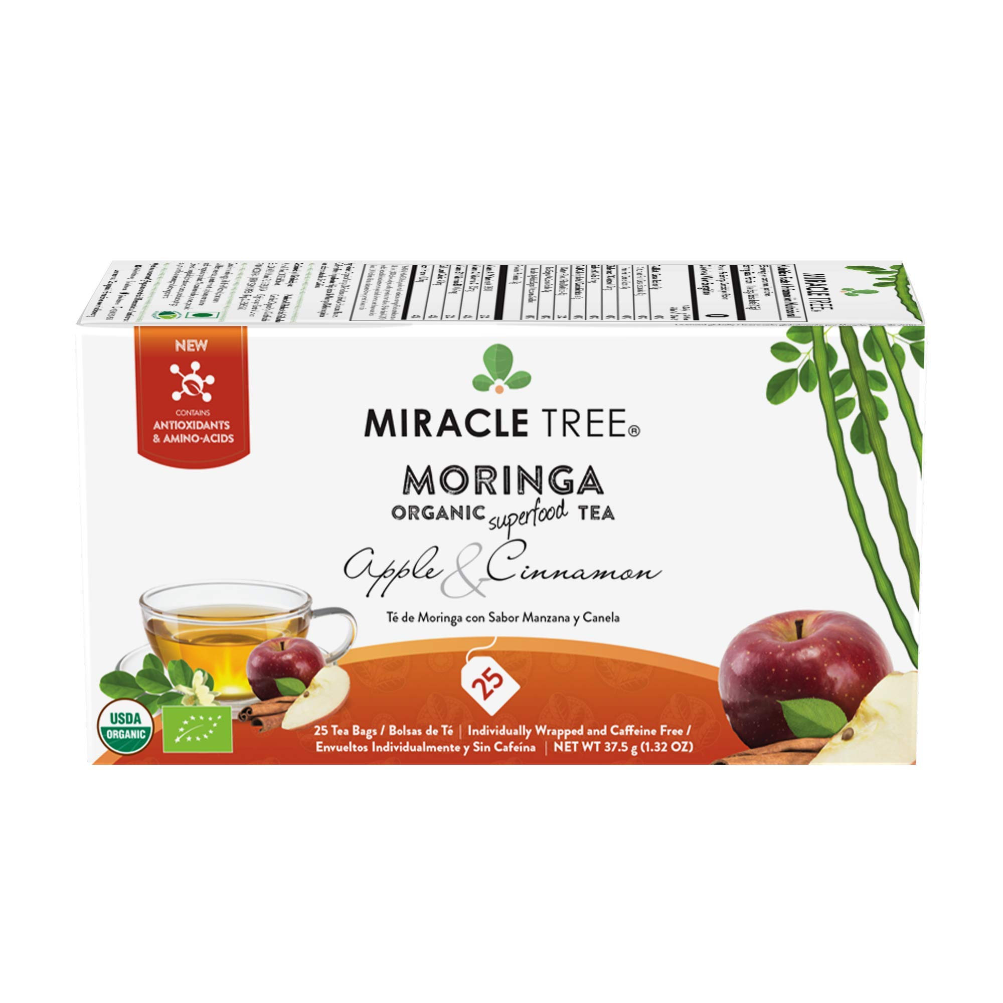 Miracle Tree - Organic Moringa Superfood Tea, 25 Individually Sealed Tea Bags, Apple &