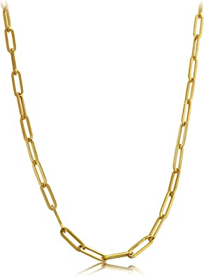 14K Yellow Gold 4mm Paperclip Elongated Link Chain Bracelet 7 8