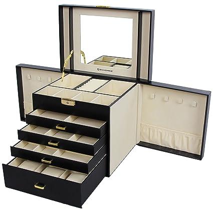 8275522b2c48 SONGMICS Caja joyero Organizador para Anillos Collares 30 x 25 x 22 cm  Nergo JBC217  Amazon.es  Juguetes y juegos