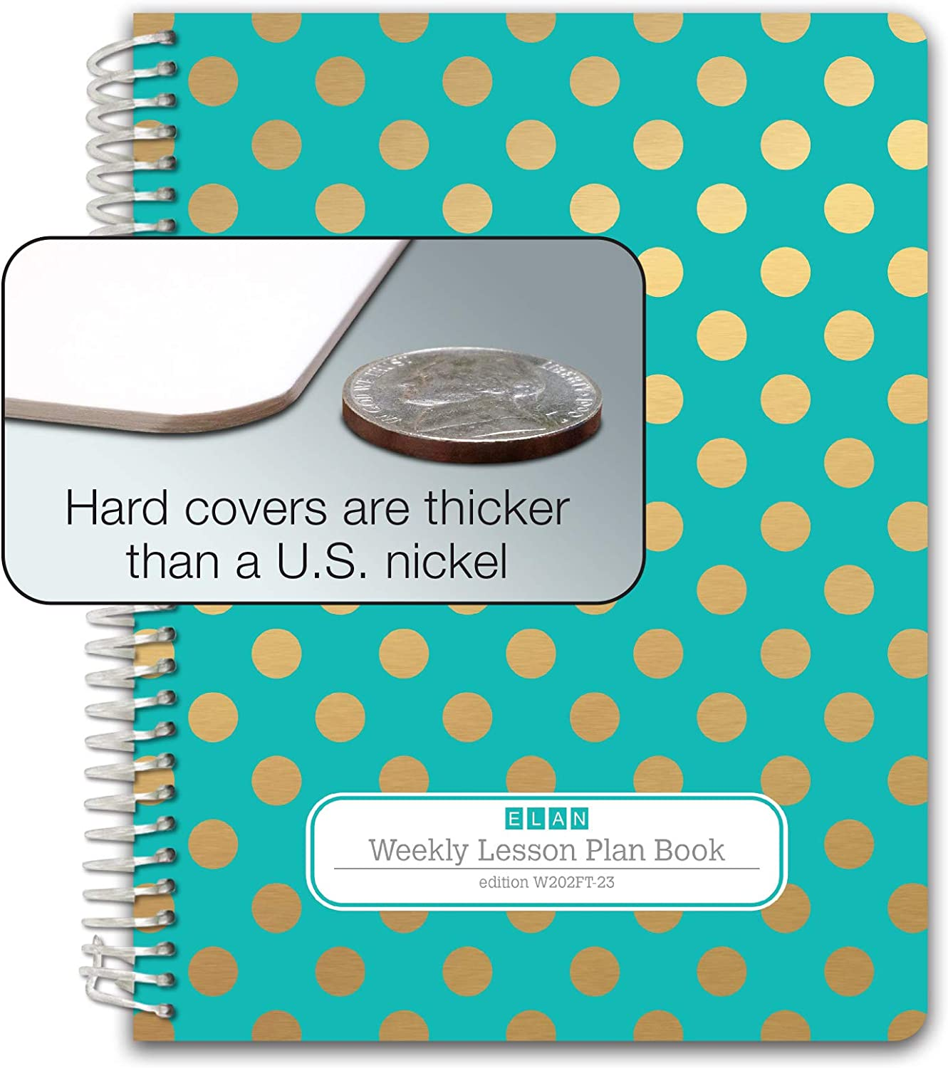 HARDCOVER 6 Period Teacher Lesson Plan; Days Vertically Down The Side W202 - Pink Marble