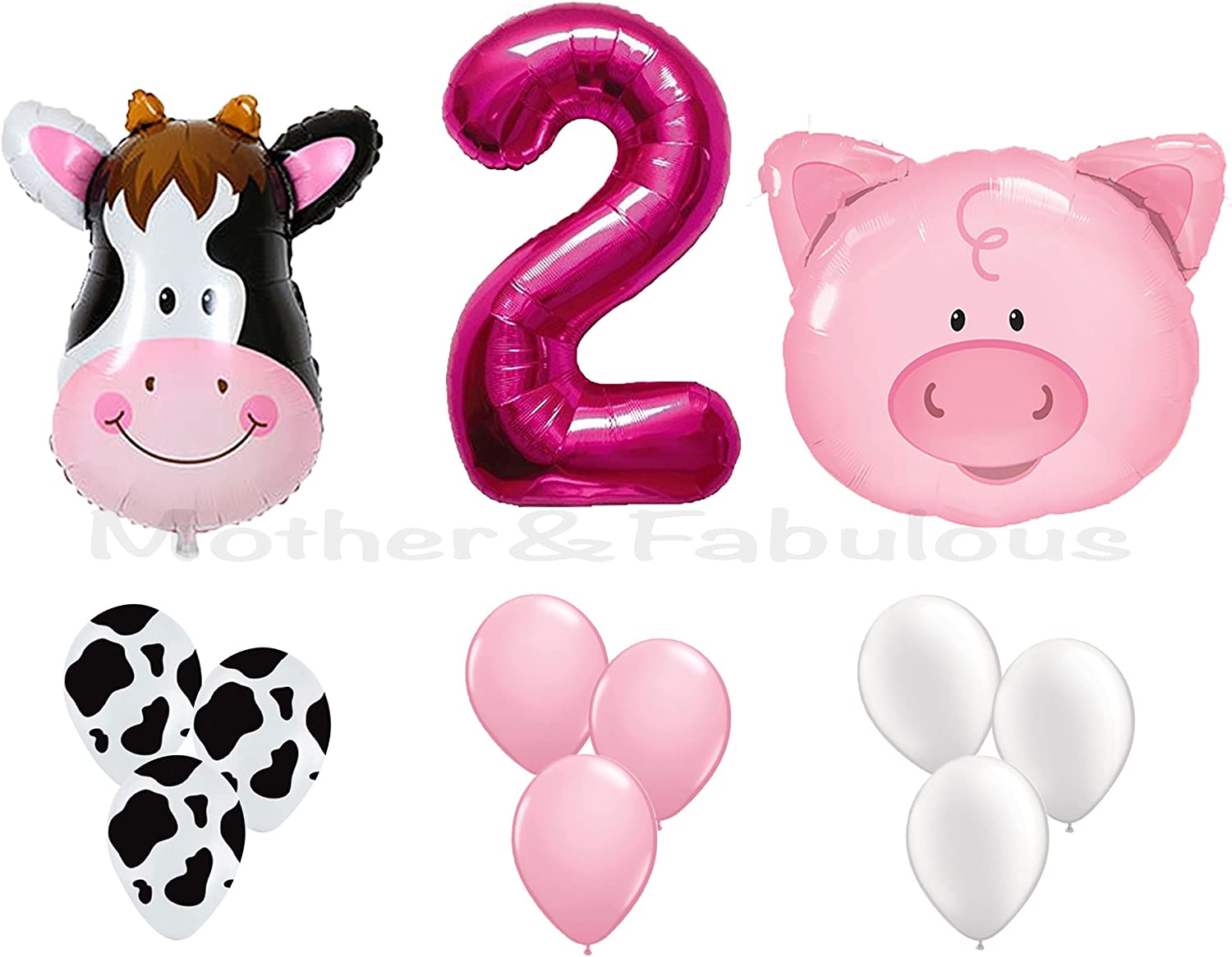 """16/"""" 2nd Birthday Party Number Foil Balloon Air Fill Pink Blue Gold Silver Animal"""