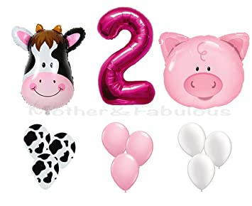 SECOND BIRTHDAY Cow And Pig Baby Girl Party Decoration With 12 Ct Pink Balloons