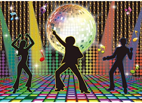 Allenjoy 7x5ft Vintage 70s 80s 90s Disco Dancers Backdrop for Party Lets Glow Crazy Shining Neon Night Adults Birthday Photography Background Cake Table Banner Photobooth Props