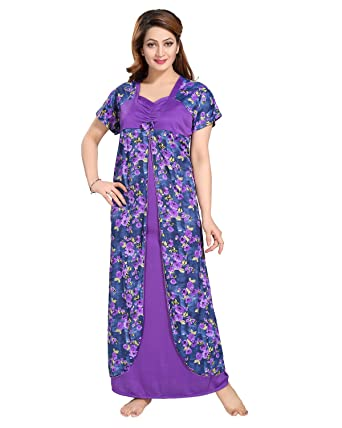 5f8bdb1bc8 Image Unavailable. Image not available for. Color  Be You Serena Satin  Purple Floral Printed Women Attach Nighty Style Nightgown