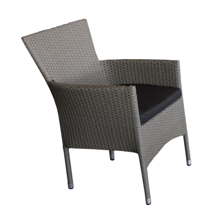 Wohaga Polyrattan Sessel Stapelbar Rattansessel Grau Meliert