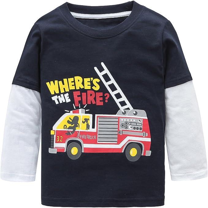 Camiseta de manga larga para niños de algodón con cuello redondo ...