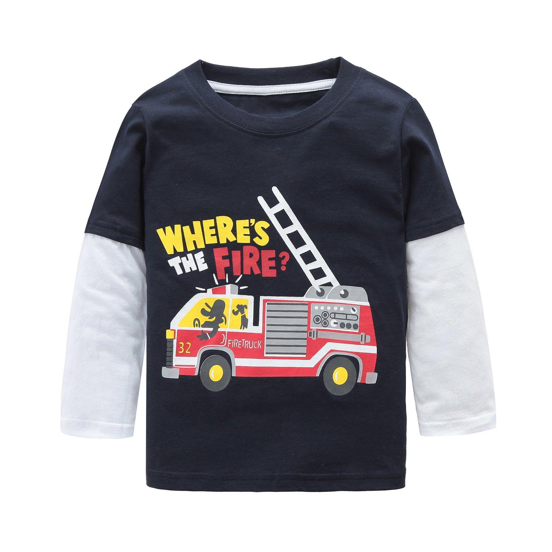 Big Boys Long Sleeve Cotton T-Shirts Fire Truck Cartoon Shirt Graphic Tees Blue 8T