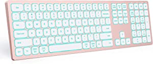 Backlit Bluetooth Keyboard Compatible with Mac OS/iOS/Windows, seenda Multi Device Ultra Slim Rechargeable Keyboard with 7-Colors Backlit for Laptop, Computer, Windows, Mac OS System, Rose Gold