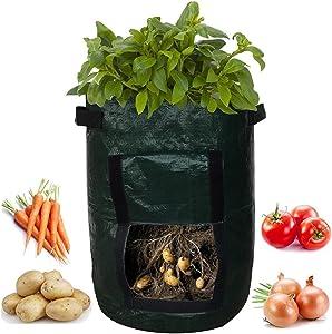 AMA(TM) Grow Planter, 10 Gallon Potato Bags Grow Pots Garden Vegetables Planter Bags with Flap and Handles for Potato, Carrot, Tomato, Onion (Green)