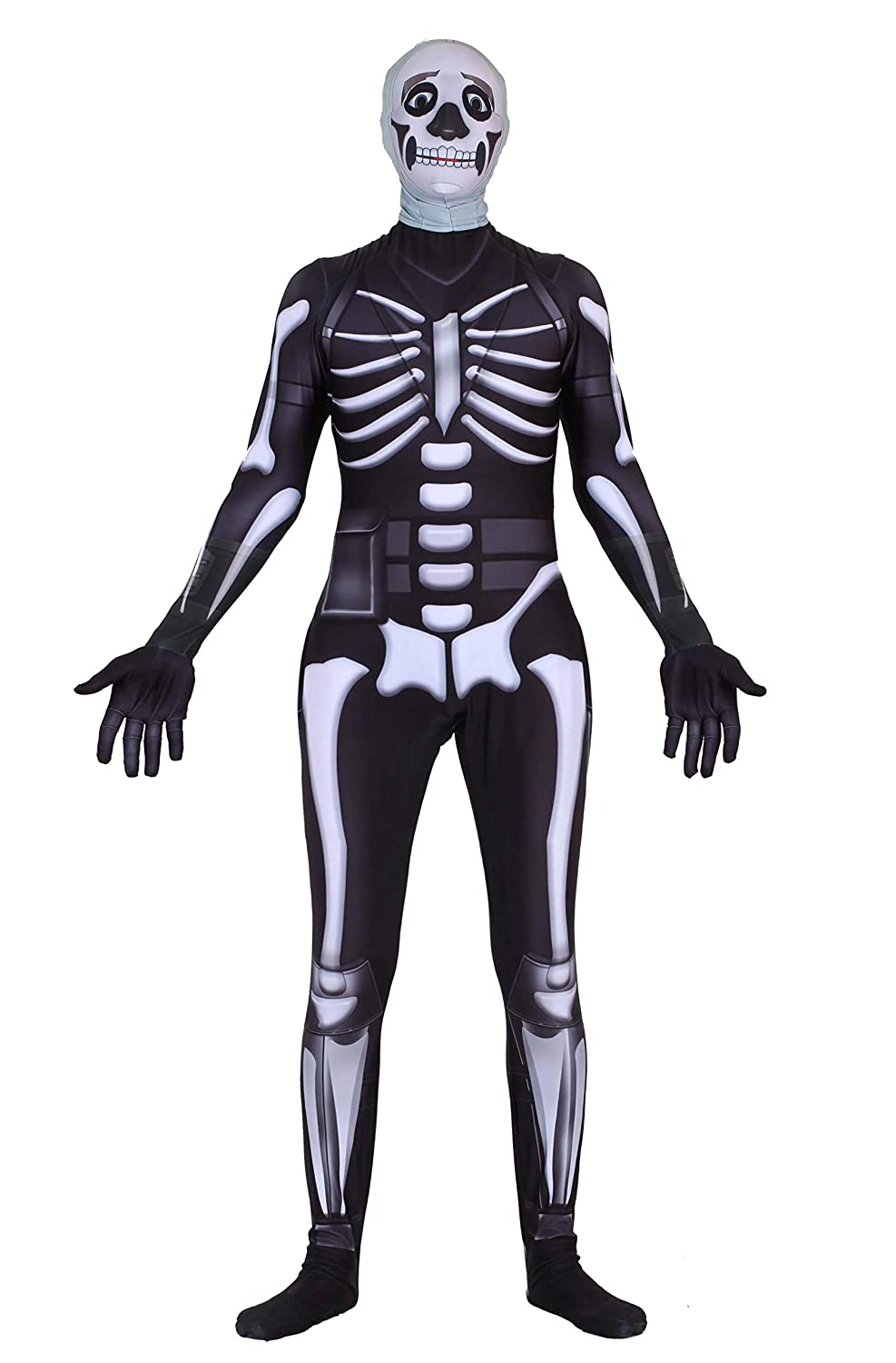 Riekinc Halloween Spandex Zentai Cosplay Costume Skull Trooper Costume Adult/Kids