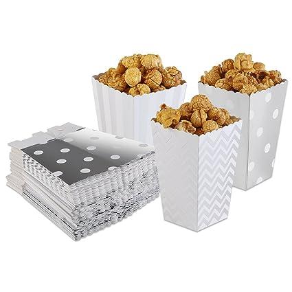 PIXNOR Cajas de palomitas para fiestas Caramelos Golosinas Color plata 50unidades