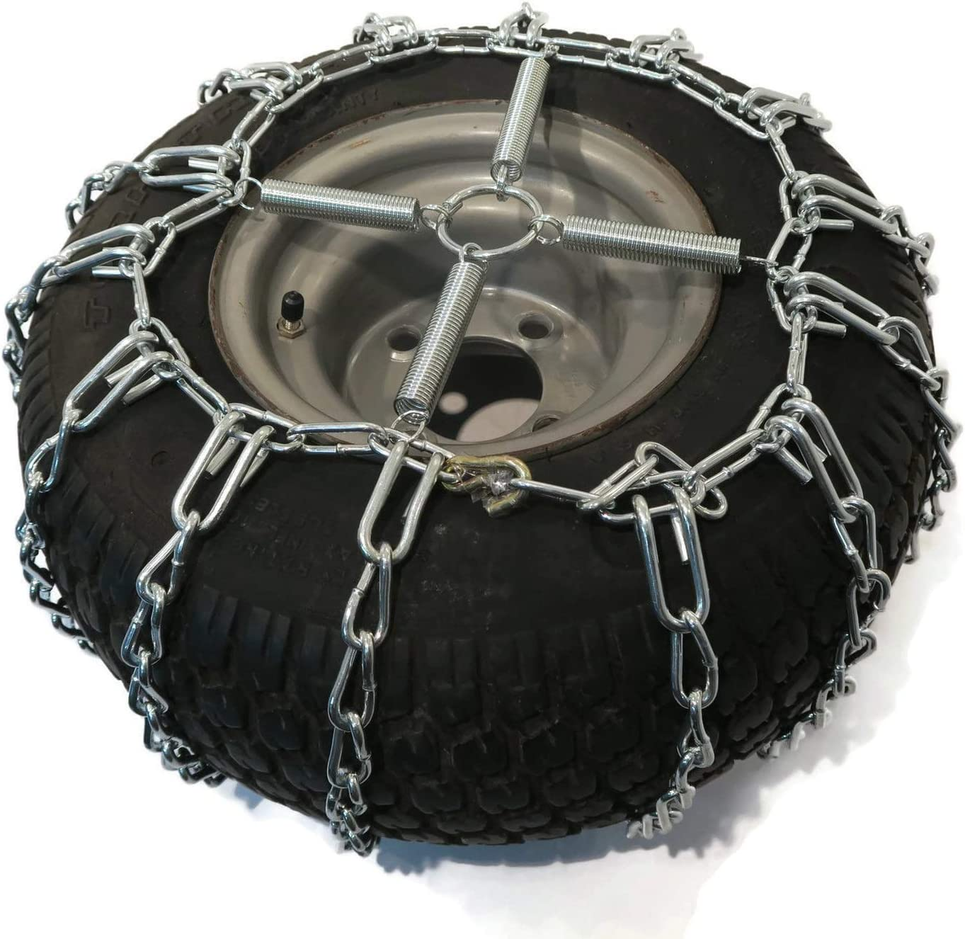 The ROP Shop   Pair of 2 Link Tire Chains & Tensionersfor Snow Blowers, Lawn & Garden Tractors, Mowers & Riders, UTV, ATV, 4-Wheelers, Utility Vehicles (18x8.5x10, with Tensioners) : Garden & Outdoor