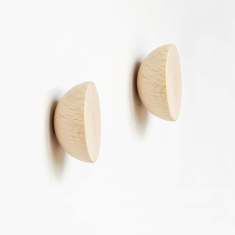 /ø5cm Set of 2 Round Beech Wood Wall Hook//Knob//Handle Minimal Nordic Style Modern Wall Hook