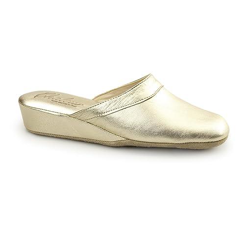 Chaleur - Zapatillas de Estar por casa de Piel para Mujer Dorado Dorado: Amazon.es: Zapatos y complementos