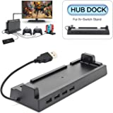 2019 Hub Dock for Nintendo Switch Dock, Switch USB Hub for Nintendo Switch with 4 Output Ports for Wired Pro Controllers…