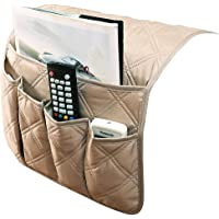 IPENNY Couch Sofa Armrest Organiser Chair TV Remote Holder Bed Storage Pocket Bag for Cellphone Tablet Notepad Book Magazines DVD Eyewears Drinker Snacks Holder Pouch