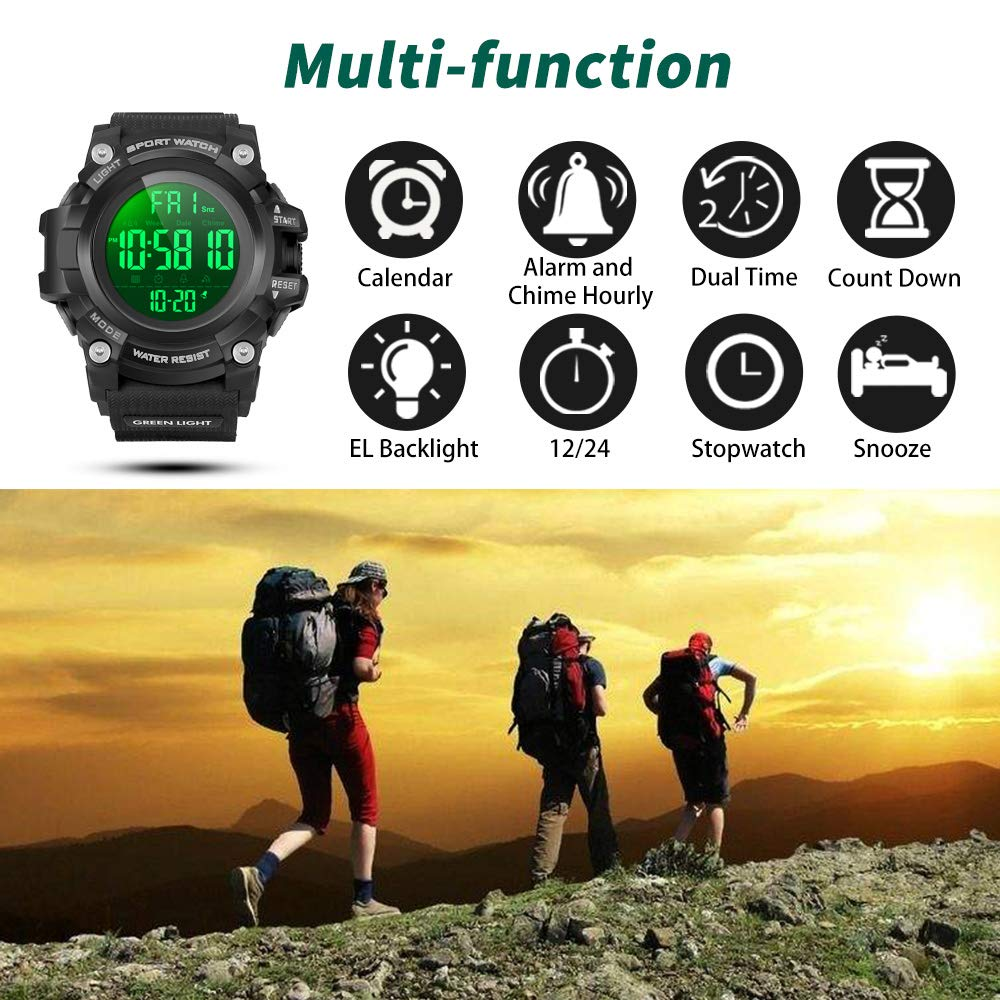 Image result for YEENIK Men's Digital Sport Watch, Military Watches with 50M Waterproof Stopwatch Army Alarm Chime Hourly Count Down Calendar Date Dual Time and Simple Luminous 12/24 for Men—Black