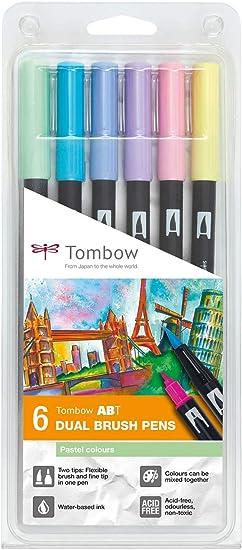 Set De 6 Rotuladores Dual Brush Colores Pastel Tombow: Amazon.es ...