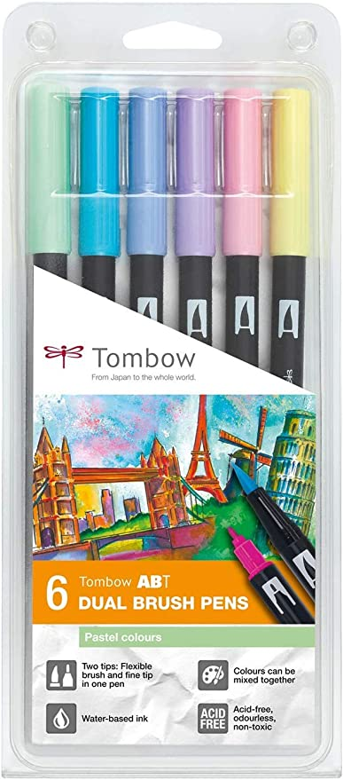 Set De 6 Rotuladores Dual Brush Colores Pastel Tombow: Amazon.es: Oficina y papelería
