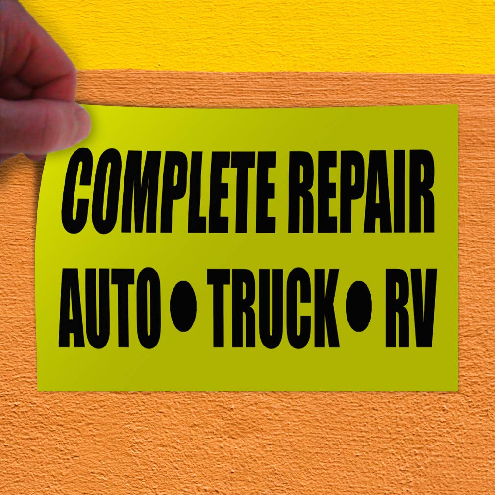 Set of 10 14inx10in Decal Sticker Multiple Sizes Complete Repair Auto Truck Rv Business Automotive Complete Auto Repair Outdoor Store Sign Yellow