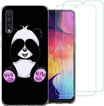 jrester Funda Samsung Galaxy A50,Lindo Panda Flexible Suave Negro ...
