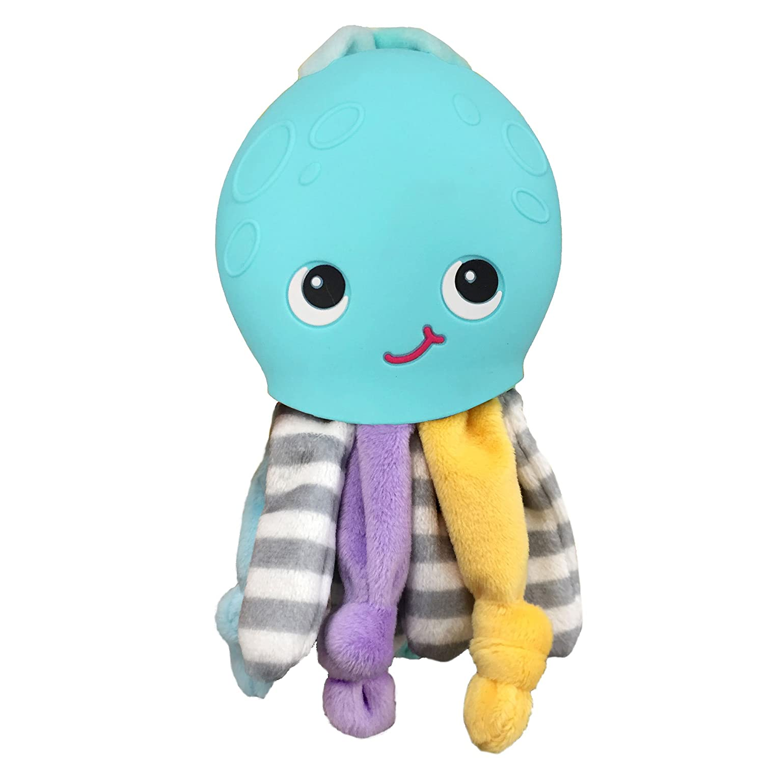 Silli Chews 2 in 1 Octopus Baby Toy Security Buddy Soft Plush and Silicone Teething Pain Relief Teether for Babies Infants and Toddlers PVC Lead Phthalate and BPA Free Chew Toy Mint Green