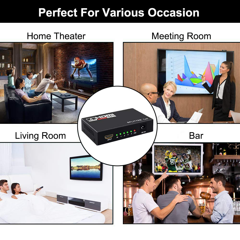 HDMI Splitter 1 in 4 Out 4K Hdmi Splitter 1x4 Ports v1.4 Powered ...