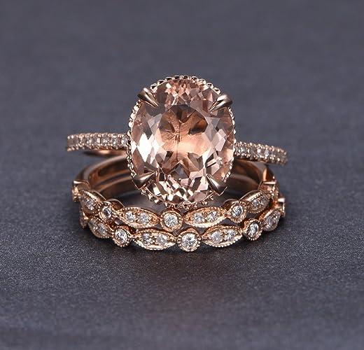 Morganite Wedding Set.Oval Morganite Engagement Ring Trio Bridal Set Milgrain Under Gallery 14k Rose Gold Art Deco 10x12mm