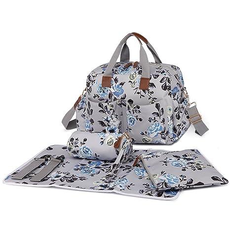 bf2f61755b49e Miss Lulu 4 Pieces Baby Diaper Nappy Changing Bags Set Flower Bird Matte  Oilcloth Maternity Handbag