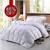 BTWZM Goose Down Comforter, Natural Materials Hypoallergenic Duvet Insert Comforter King Size, 100% Cotton Down Proof Fabric White Comforter (King)